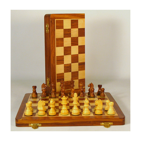 "WorldWise Imports 14"" Sheesham and Maple Folding Chess Set"""