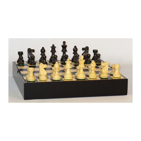 "WorldWise Imports 3"" Black French Chess Set on Maple Veneer Chest"""