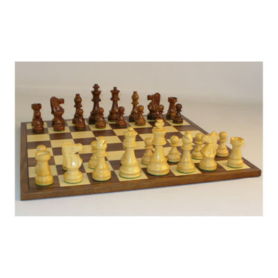 "WorldWise Imports 3.5"" Sheesham French Chess Set with Walnut Board"""
