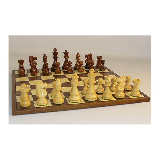 "WorldWise Imports 3.5"" Sheesham French Chess Set with Walnut Board"""