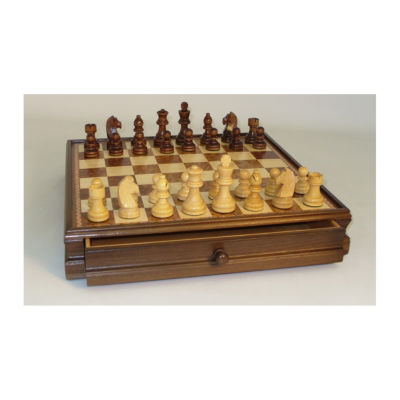 """WorldWise Imports 15"""" Walnut and Maple Drawer Chest Chess Set"""""""