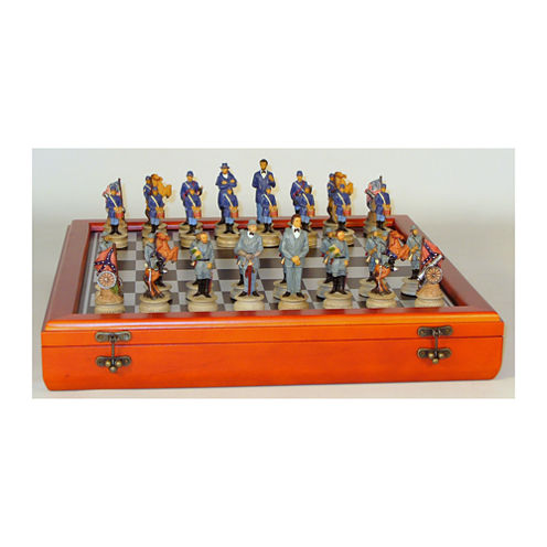 """WorldWise Imports 3.25"""" Civil War Generals PaintedResin Men Chess Set with Cherry Stained Chest Board"""""""