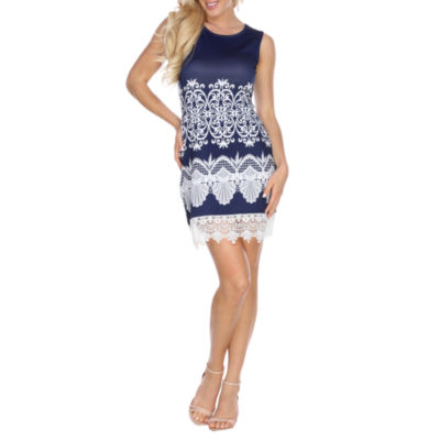 White Mark Diem Sleeveless Pattern Sheath Dress