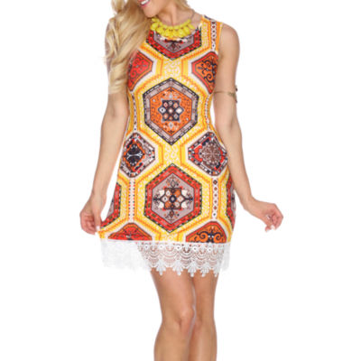 White Mark Thea Sleeveless Geometric Sheath Dress