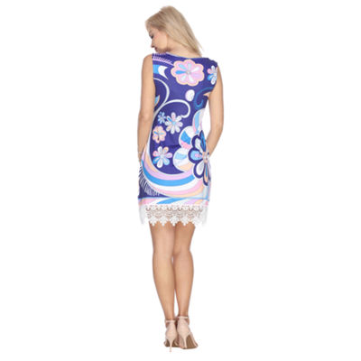 White Mark Grecia Sleeveless Floral Sheath Dress