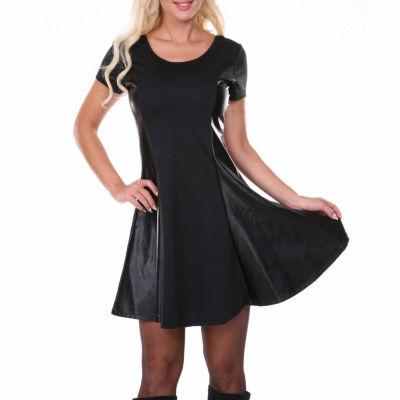 White Mark Heather Short Sleeve Fit & Flare Dress