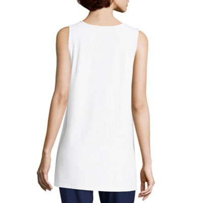 Liz Claiborne Womens Round Neck Sleeveless Tank Top