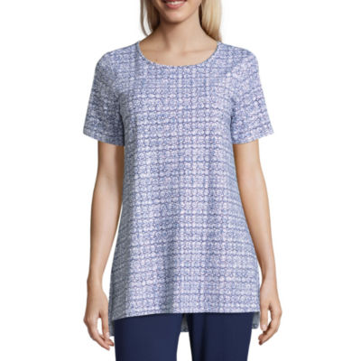 Liz Claiborne Studio Short Sleeve Round Neck Tunic