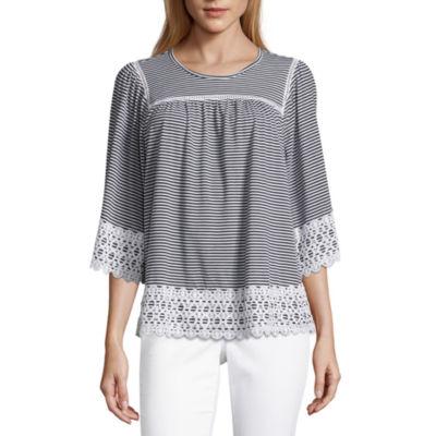 Liz Claiborne 3/4 Sleeve Round Neck Crochet Trim T-Shirt
