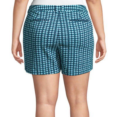 "Boutique + 5"" Geometric Twill Shorts - Plus"