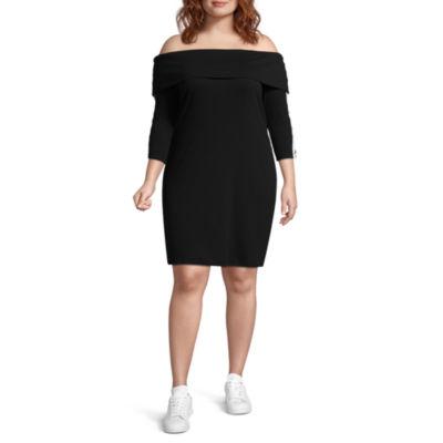 Project Runway Long Sleeve Bodycon Dress-Plus