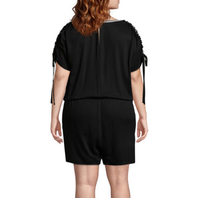 Project Runway Long Sleeve Romper-Plus