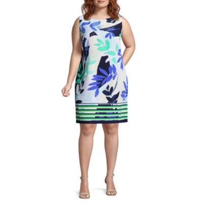 R & K Originals Sleeveless Pattern Sheath Dress - Plus