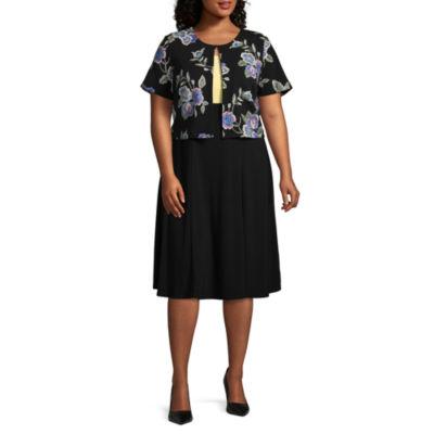 Perceptions Short Sleeve Jacket Dress - Plus