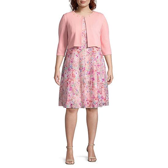 Perceptions Elbow Sleeve Jacket Dress - Plus