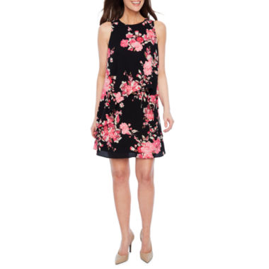 Black Label by Evan-Picone Sleeveless Floral Shift Dress
