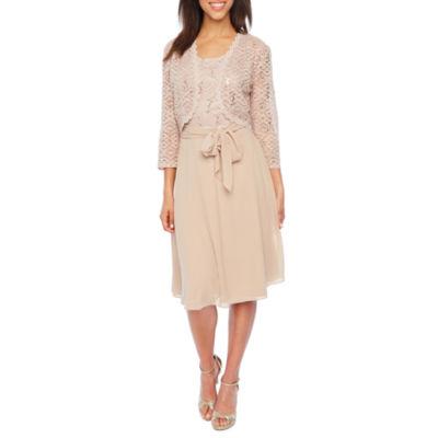 Studio One 3/4 Sleeve Lace Jacket Belted Dress