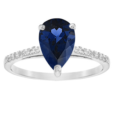 Womens 1/10 CT. T.W. Lab Created Blue Sapphire 14K White Gold Pear Cocktail Ring