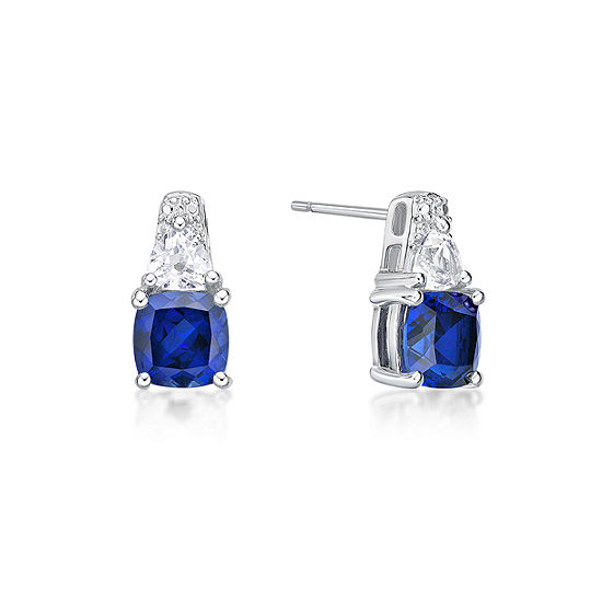 Lab Created Blue Sapphire Sterling Silver 128mm Stud Earrings