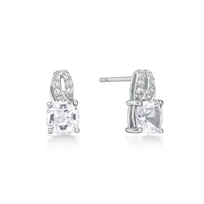 Lab Created White Sapphire Sterling Silver 10mm Stud Earrings