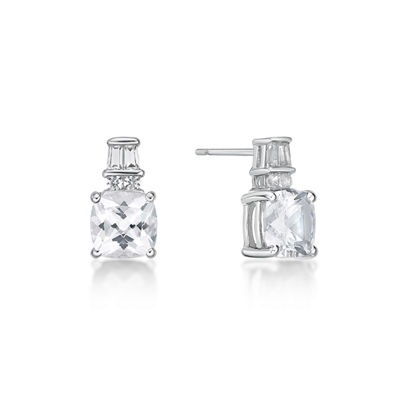 Lab Created White Sapphire Sterling Silver 11mm Stud Earrings