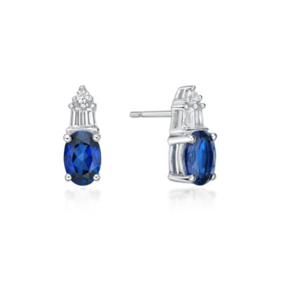 Lab Created Blue Sapphire Sterling Silver 10.5mm Stud Earrings