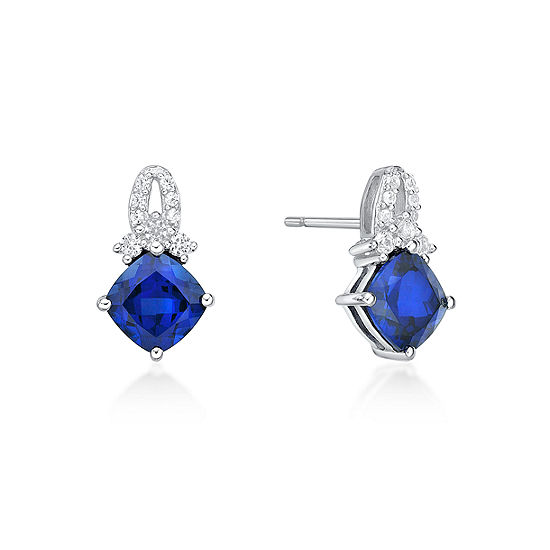 Lab Created Blue Sapphire Sterling Silver 134mm Stud Earrings