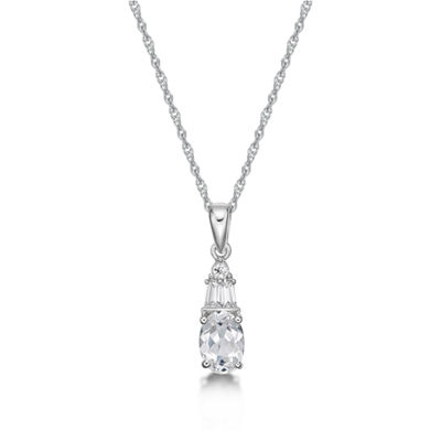 Womens Lab Created White Sapphire Sterling Silver Pendant
