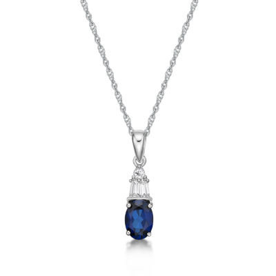 Blue Sapphire Oval Sterling Silver Pendant