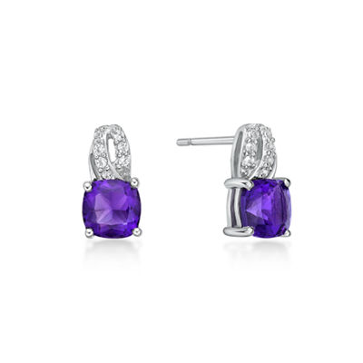 Genuine Purple Amethyst Sterling Silver 10mm Stud Earrings