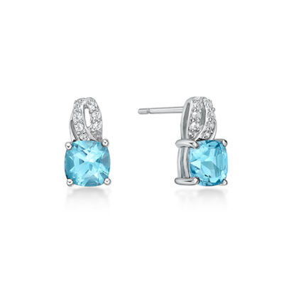 Genuine Blue Topaz Sterling Silver 10mm Stud Earrings