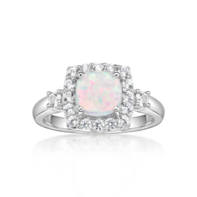 Womens Lab Created White Opal Sterling Silver Halo Cocktail Ring