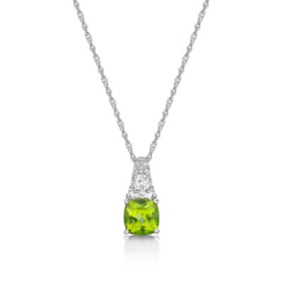 Womens Genuine Green Peridot Pendant Necklace