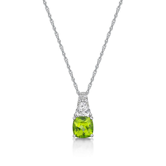 Womens Genuine Green Peridot Sterling Silver Pendant Necklace