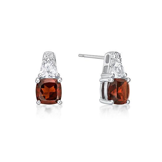 Genuine Red Garnet Sterling Silver 12.8mm Stud Earrings
