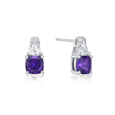 Genuine Purple Amethyst Sterling Silver 12.8mm Stud Earrings