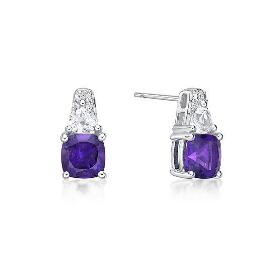 Genuine Purple Amethyst Sterling Silver 12.8mm Stud Earrings