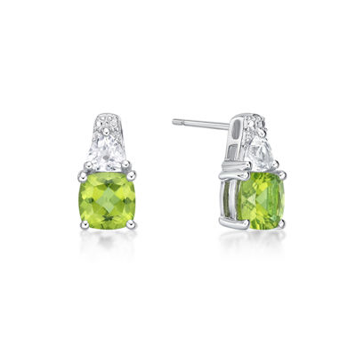 Genuine Green Peridot Sterling Silver 12.8mm Stud Earrings
