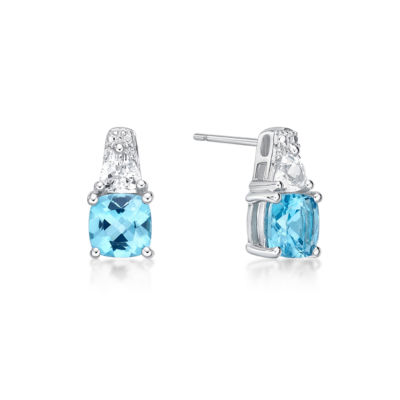 Genuine Blue Topaz Sterling Silver 12.8mm Stud Earrings