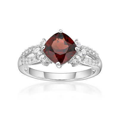 Womens Red Garnet Sterling Silver Cocktail Ring
