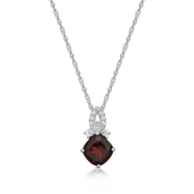 Womens Genuine Red Garnet Pendant Necklace