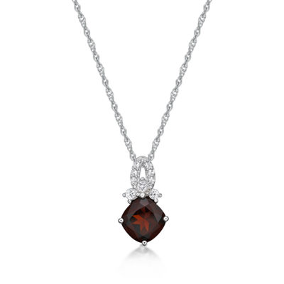 Womens Genuine Red Garnet Sterling Silver Pendant Necklace