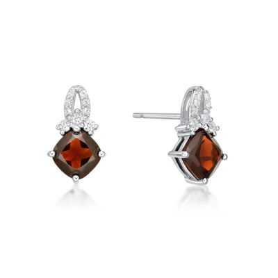 Genuine Red Garnet Sterling Silver 13.4mm Stud Earrings