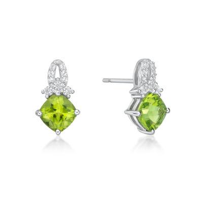 Genuine Green Peridot Sterling Silver 13.4mm Stud Earrings