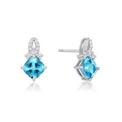 Genuine Blue Topaz Sterling Silver 13.4mm Stud Earrings