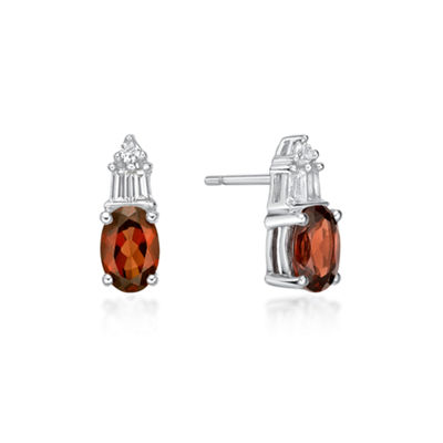 Genuine Red Garnet Sterling Silver 10.5mm Stud Earrings