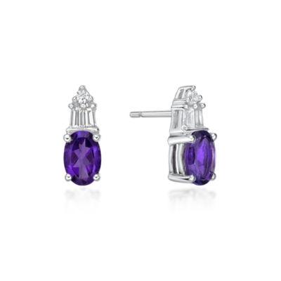 Genuine Purple Amethyst Sterling Silver 10.5mm Stud Earrings