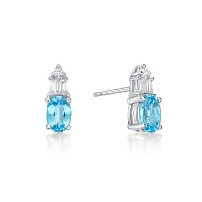 Genuine Blue Topaz Sterling Silver 10.5mm Stud Earrings