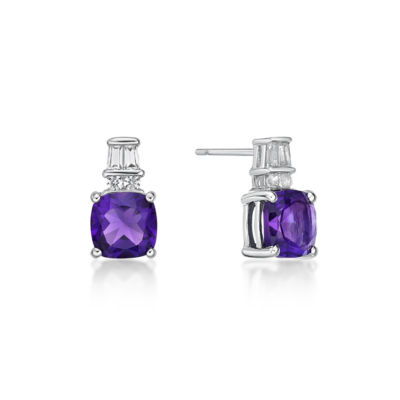 Cushion Purple Amethyst Sterling Silver Stud Earrings