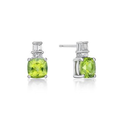 Genuine Green Peridot Sterling Silver 11mm Stud Earrings